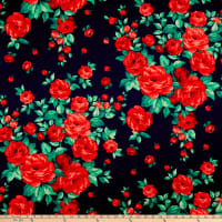 Rayon Challis Roses Navy/Red
