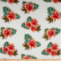 Rayon Challis Tropical Floral Ivory/Coral