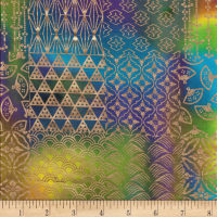 Textile Creations Urban Ethnic Metallic Patch Blue/Geern/Turquoise