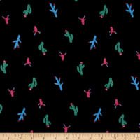 Fabtrends Rayon Soleil Cactus In Bloom Black Multi