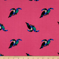 Fabtrends Rayon Soleil Toucan Couple Fuchsia