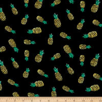 Fabtrends Rayon Soleil Pineapple Black