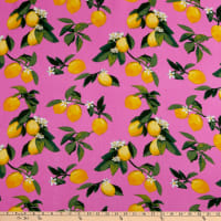 Fabtrends Rayon Soleil Lemon Branches Fuchsia