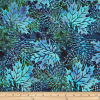Batik by Mirah Green Glow Packed Leaves Jetty Blue