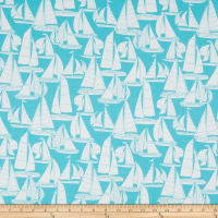 Martha Stewart Lily Pond Sailboat Cotton Duck Turquoise
