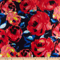 Watercolor Floral Twill Stiff Satin Pink/Red/Navy