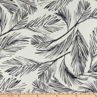 Sketchy Leaf Print Crepe de Chine Navy/White