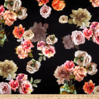 Rose Floral Techno Scuba Knit Black/Multi
