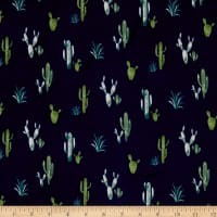 Double Brushed Poly Jersey Knit Cactus Navy/Green