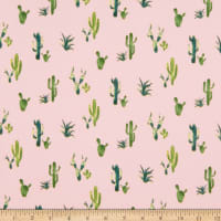 Double Brushed Poly Jersey Knit Cactus Pink/Green