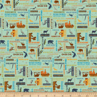 Riley Blake National Parks Word Print Sea Green