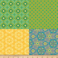 Riley Blake Wildflower Bouquet Fat Quarter Panel Green