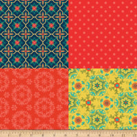 Riley Blake Wildflower Bouquet Fat Quarter Panel Red
