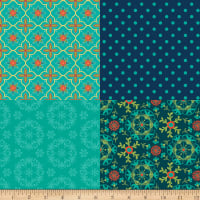 Riley Blake Wildflower Bouquet Fat Quarter Panel Teal