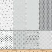 """Riley Blake Paper Daisies 36"""" Fat Eighth Panel Gray"""