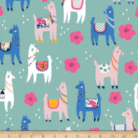 Riley Blake Designer Flannel, Novelty Llamas Teal