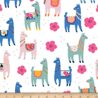 Riley Blake Designer Flannel, Novelty Llamas White