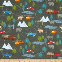 Riley Blake Flannel Forest Scene Gray