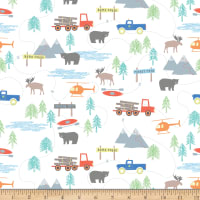 Riley Blake Flannel Forest Scene White
