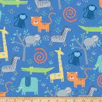 Riley Blake Flannel Jungle Animals Blue