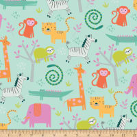Riley Blake Flannel Jungle Animals Mint