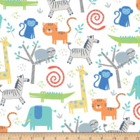 Riley Blake Flannel Jungle Animals White