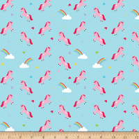 Riley Blake Flannel Once Upon A Time Unicorns Blue