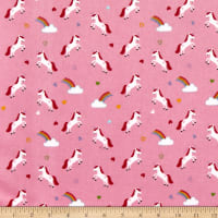 Riley Blake Flannel Once Upon A Time Unicorns Pink