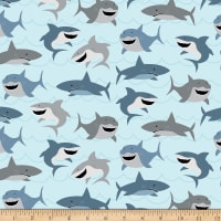 Riley Blake Flannel Novelty Sharks Light Blue