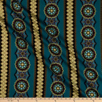 Windham Grand Illusion Medallion Stripe Teal