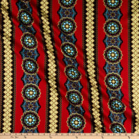 Windham Fabrics Grand Illusion Medallion Stripe Crimson