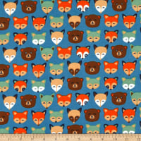 Cubby Bear Flannel Forest Animals Slate Blue