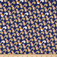 Windham Fabrics Sweet Oak Striped Pear Squirrels Navy