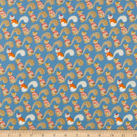 Windham Fabrics Sweet Oak Striped Pear Squirrels Blue