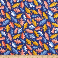 Windham Fabrics Sweet Oak Striped Pear Oak Leaf Navy