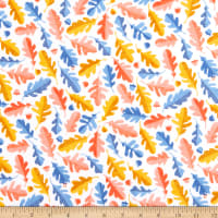 Windham Fabrics Sweet Oak Striped Pear Oak Leaf White