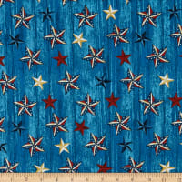American Rustic Stars on Wood Blue