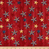 American Rustic Stars on Wood Red