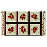 "Benartex A Festival of Roses Festive Roses 24"" Panel Green"