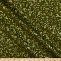 Benartex A Festival of Roses Trailing Buds Medium Green