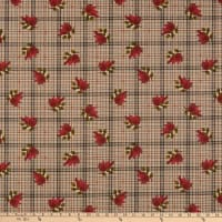 Benartex Another Moose Is Loose Cardinal with Plaid Tan