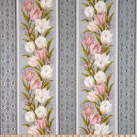 Benartex Totally Tulips Stripe Grey Multi