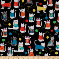 Kanvas  Knit Together Cats Black
