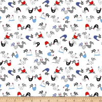 Clothworks Tiny Print Nation Chickens White