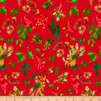 Clothworks Merry & Bright Toss Red Metallic