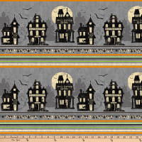 Clothworks Pick Your Poison Pictorial Border Stripe Pewter