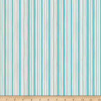 Clothworks Winter Woodland Stripe Light Teal