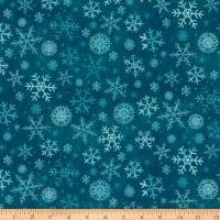 Clothworks Winter Woodland Geo Dark Teal