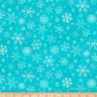 Clothworks Winter Woodland Geo Light Teal