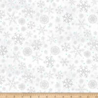 Clothworks Winter Woodland Geo White